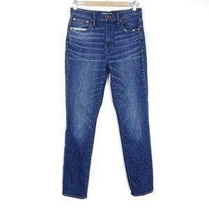Madewell High Rise Slim Boy Jeans Dark Distressed